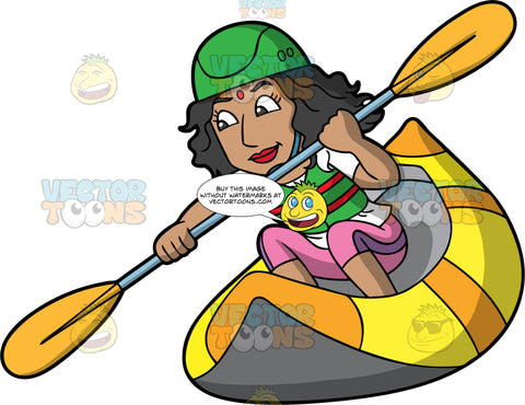 An Indian Woman Rafting Through Some Rapids. An Indian woman wearing pink pants, a white shirt, green life jacket and green helmet, holds onto a double bladed paddle as she steers her yellow raft through some rough water
