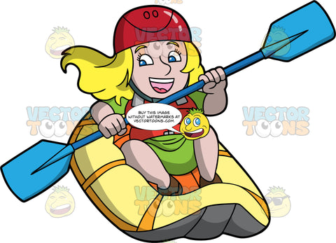 A Chubby Blonde Woman Having Fun Navigating Her Raft Through Some Rough Water. A chubby blonde woman with blue eyes, wearing green shorts, a green t-shirt, red life jacket, and a red helmet, sits in a yellow raft and uses a double bladed paddle to guide her through some rapids