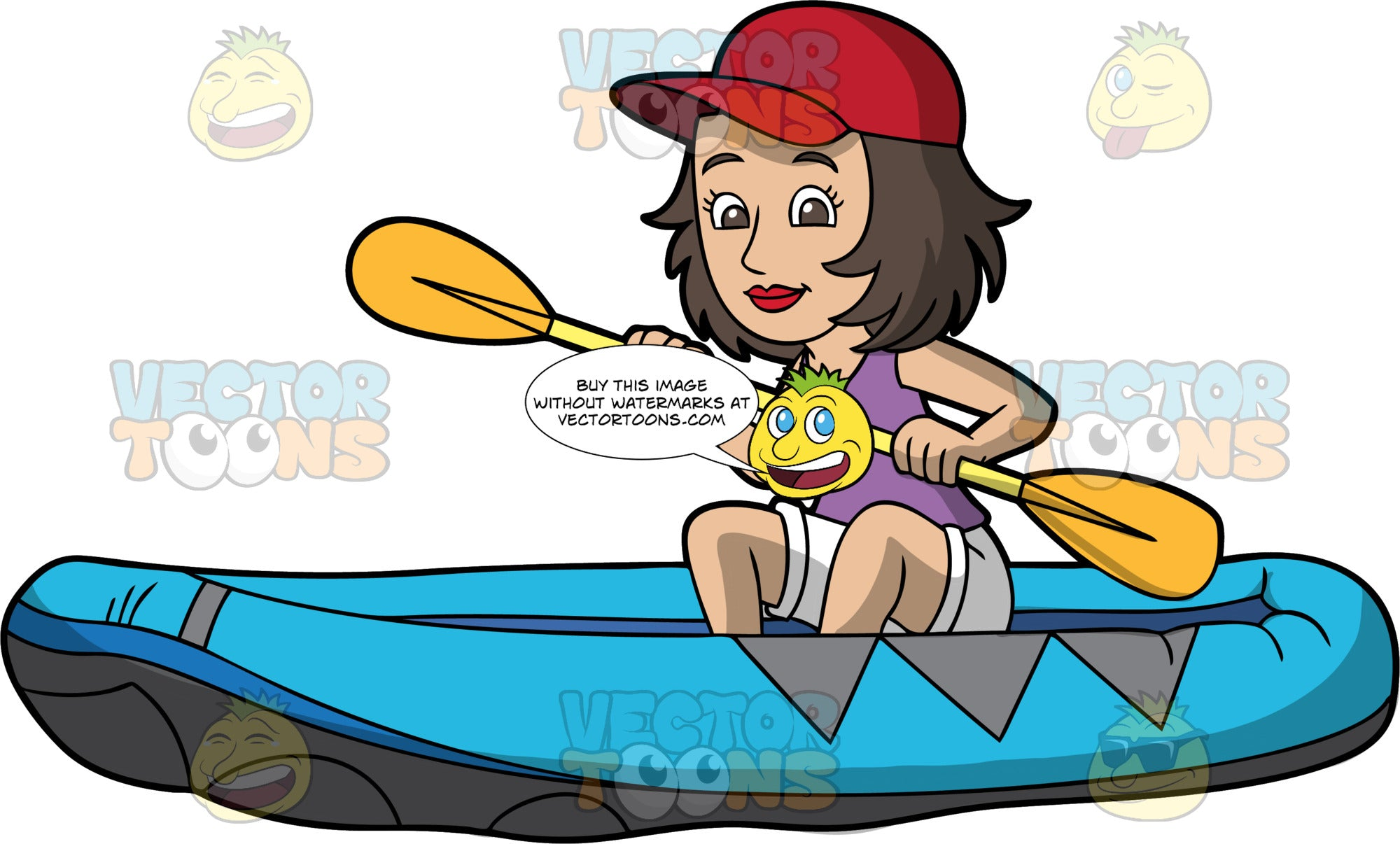 A Brunette Woman Sitting In A Blue Raft. A woman with brown hair and eyes, wearing white shorts, a purple tank top, and red baseball cap, guides her blue raft through calm waters using a double bladed paddle