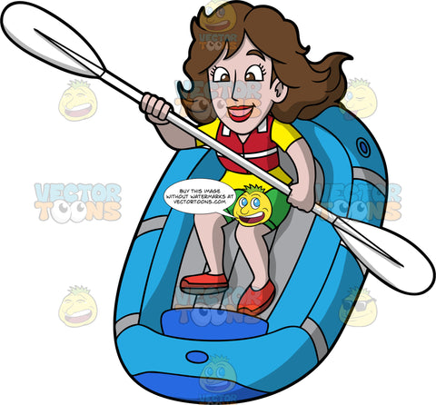 A Woman Having Fun Guiding Her Raft Through Some Rapids. A woman with brown hair and eyes, wearing green shorts, a yellow shirt, red shoes and a red life jacket, skillfully navigates her blue raft through some rapids using the double bladed paddle in her hands
