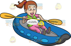 An Excited Woman Steering Her Raft Through Some Rough Water. A woman with light brown hair and eyes, wearing pink pants, a pink shirt, purple shoes and green life jacket, sits in a blue raft and guides it through some rough water with the double bladed paddle in her hands