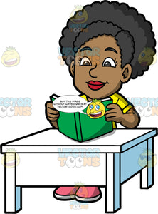 Jackie Reading A Book. A black woman wearing a yellow shirt, sitting at a white table reading a book with a green cover