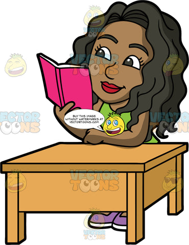 Maggy Reading A Novel. A black woman wearing a green shirt, sitting at a brown table reading a book with a pink cover