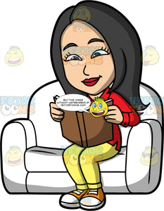 Connie Reading An Interesting Book. An Asian woman wearing yellow pants, a long sleeve red shirt, and orange sneakers, sitting on a white sofa reading a book with a brown cover
