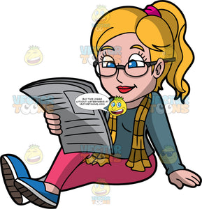 A Woman Reading A Newspaper Casually. A woman with ponytailed blonde hair, wearing a grayish teal sweatshirt, striped yellow scarf, pink pants, blue with white shoes, eyeglasses, sitting on the floor while reading a newspaper
