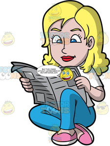A Woman Sitting On The Floor Reading A Newspaper. A woman with blonde hair, wearing a white shirt, blue pants, pink with white shoes, sits on the floor and smiles while reading a newspaper