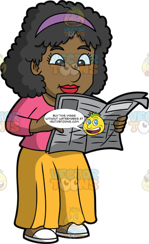 A Black Woman Standing And Reading A Newspaper. A black woman with curly hair, wearing a purple headband, pink blouse, yellow skirt, white slippers, smiles while reading a newspaper