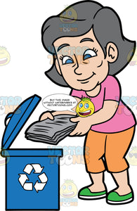 Mary Throwing Newspapers Into A Recycling Bin. A mature woman wearing orange pants, a pink t-shirt, and green shoes, throwing newspapers into a blue bin with a recycling logo on it