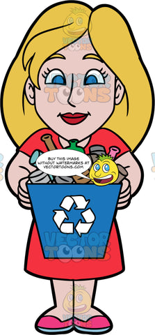 Stacey Carrying A Full Recycling Bin. A woman wearing a red dress and pink shoes, holding a blue recycling bin filled with glass, metal, and plastic containers