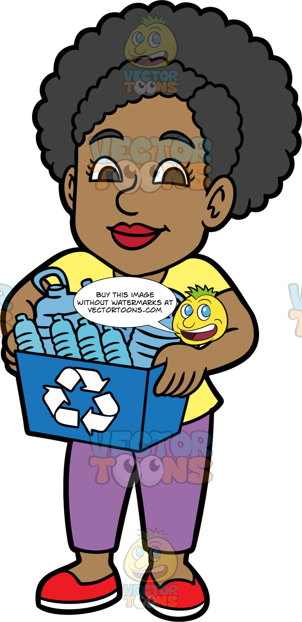 Jackie Holding A Blue Bin Filled With Plastic Containers. A black woman wearing purple pants, a yellow t-shirt, and red shoes, carrying a recycling bin filled with plastic bottles