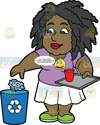 Lisa Throwing A Crumpled Up Piece Of Paper Into A Recycling Bin. A black woman wearing a white skirt, a lavender shirt, and green shoes, throwing a piece of paper into a blue recycling can