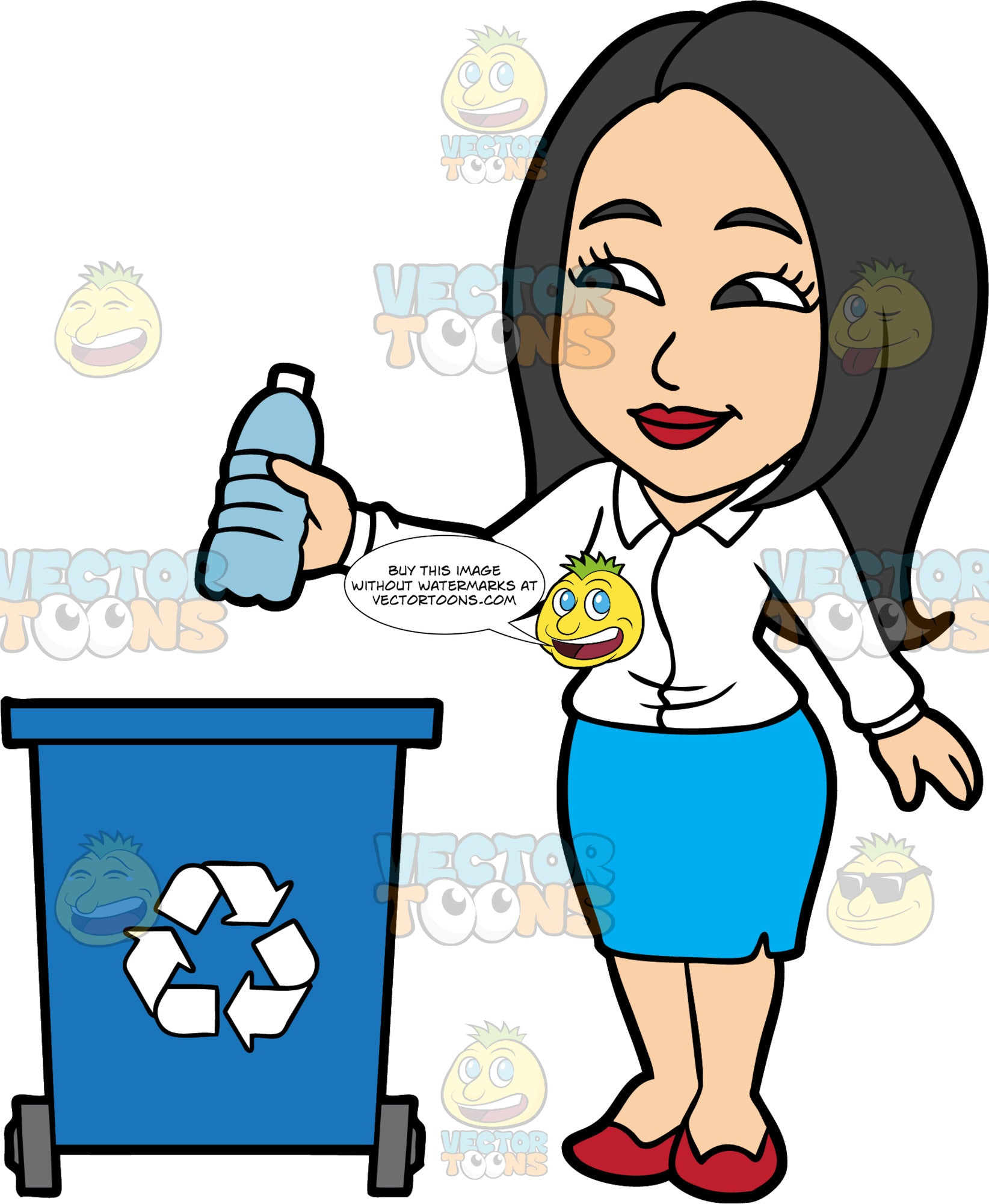 Connie Throwing A Plastic Bottle Into A Recycling Bin. An Asian woman wearing a blue skirt, a white shirt, and red shoes, throwing a plastic water bottle into a big blue recycling bin