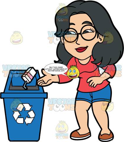 Lynn Throwing A Juice Box Into A Recycling Bin. An Asian woman wearing blue shorts, a long sleeve red shirt, brown shoes, and eyeglasses throwing a juice box with a plastic straw into a recycling bin