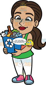 Isabella Carrying A Blue Bin Filled With Recyclable Items. A Hispanic woman wearing white pants, a green tank top, and pink and blue shoes, holding a recycling bin filled with paper, glass, metal, and plastic
