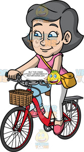 Mary Going On A Bike Ride. A mature woman wearing white pants, a pink shirt, a yellow purse, and pink shoes, riding around on her red bike with a basket in front