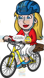 Stacey Riding Her Yellow Bike. A woman with dark blonde hair, wearing a blue bike helmet, a white dress, a red cardigan, and blue shoes, riding a yellow bike with a basket on the back