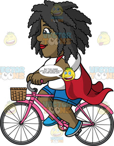 Lisa Riding Her Pink Bike. A black woman wearing blue shorts, a white shirt, a flowing red vest, and blue shoes, riding around on her pink bike with a basket in the front