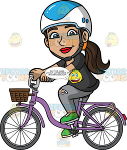 Isabella Riding Around On Her Purple Bike. A Hispanic woman wearing a blue and white helmet, gray track pants, a black t-shirt, and green sneakers, pedaling around town on her purple bike with a basket in the front