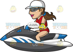 A Cool Woman Riding A Jet Ski