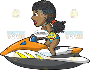 A Cool Black Woman Riding A Jet Ski