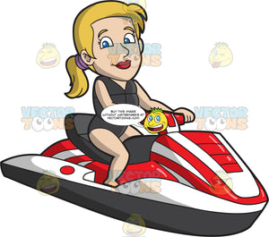 A Calm Woman Riding A Jet Ski