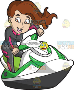 A Beautiful Woman Riding A Jet Ski