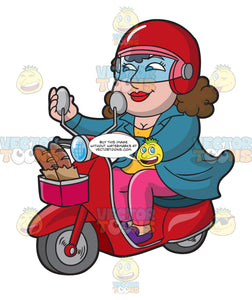 A Woman Riding A Scooter From A Bakery