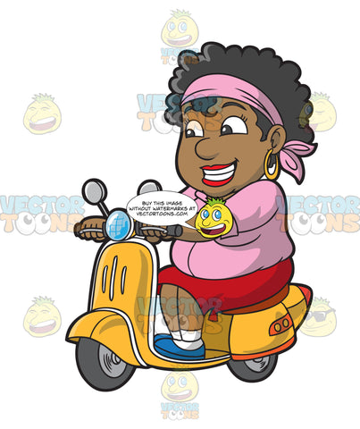 A Black Woman Happily Drives A Scooter