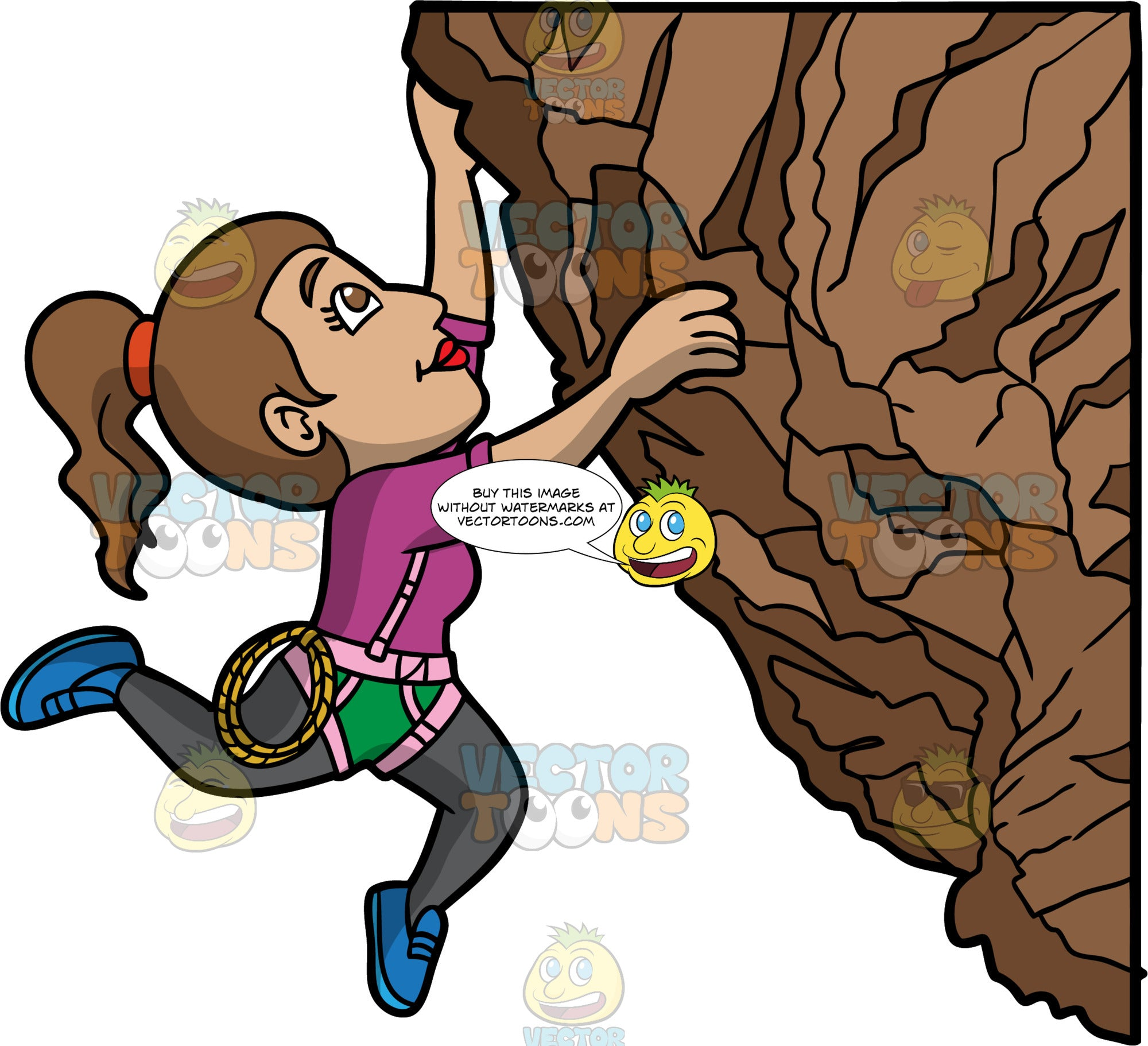 A Woman Hanging From A Rock Cliff. A woman with brown hair tied in a pony tail, wearing green shorts over dark gray leggings, a purple shirt, pink harness, and blue rock climbing shoes, uses her upper body strength to hang onto the side of a rock wall