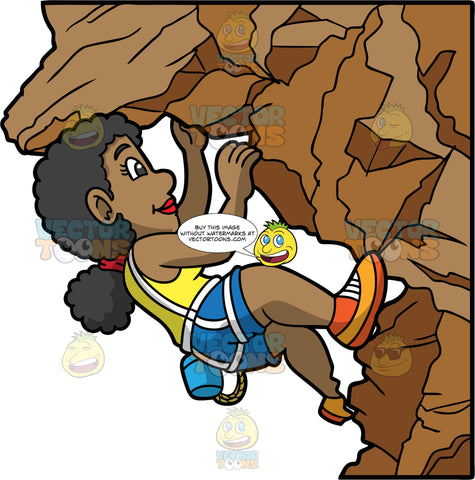 An Adventurous Woman Climbing A Rock Formation. A black woman with her hair tied in a low pony tail, wearing blue shorts, a yellow shirt, and orange rock climbing shoes, wedges herself in the overhang of a rock formation, carefully making her way up a mountain
