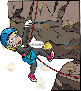 A Woman Climbing Up A Rock Formation. A woman with short blonde hair and blue eyes, wearing blue shorts over long gray pants, a gray shirt, pink rock climbing shoes, white gloves, and a blue helmet, is hooked into a green harness attached to a red rope which she uses to help her climb a rock cliff