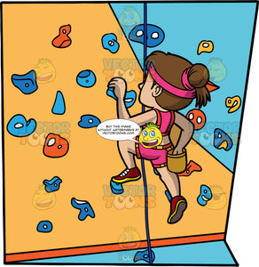 A Woman Climbing An Artificial Rock Wall. A woman with brown hair tied up in a bun, wearing pink shorts, a pink shirt, and red shoes, is hooked into a harness that is attached to a rope, and she uses one hand to hold onto a blue wall hold, while her other hand reaches into a bag of chalk