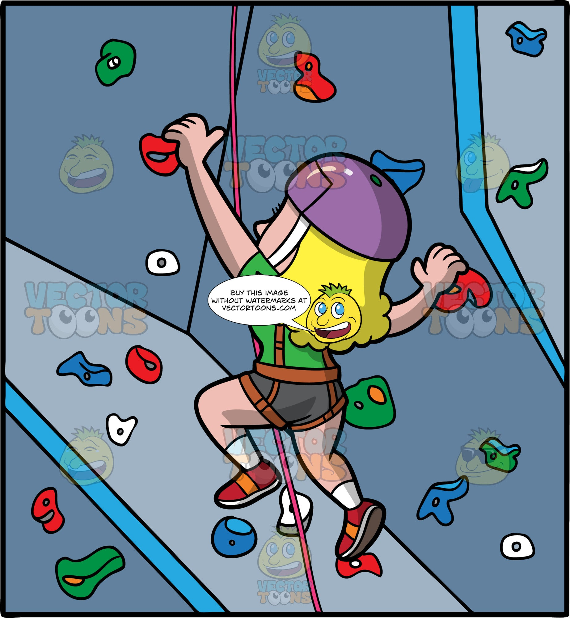 A Blonde Woman Indoor Rock Climbing. A woman with blonde hair, wearing gray shorts, a green shirt, red rock climbing shoes, and a purple helmet, is hooked into a brown harness attached to a red rope, as she uses the foot and hand holds to climb up a rock climbing wall