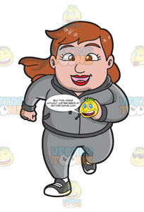 A Chubby Woman Running To Lose Weight