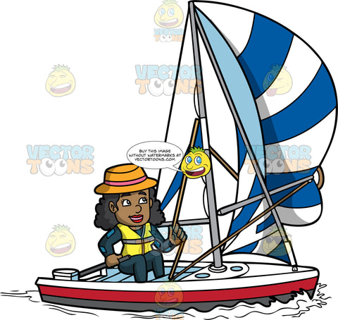 A Happy Black Woman Steering Her Sailboat. A black woman with curly hair, wearing an orange with a pink band hat, black with teal wetsuit, yellow life vest, smiles while stirring the direction of her white with red and dark gray boat, by tugging the rope of the striped white and blue sail, as well as moving the gray paddle in her right hand