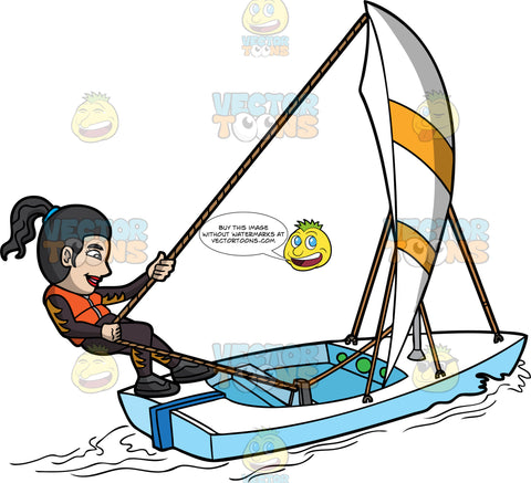 An Active Woman Maneuvering A Sailboat. A woman with ponytailed black hair, wearing a wetsuit with orange flame print, orange life vest, black shoes, smiles while pulling the rope to change the direction of the white and yellow sail, that will stir the movement of the white with blue sailboat