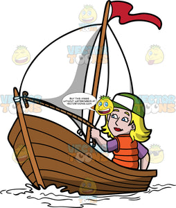A Woman Sailing A Boat. A woman with blonde hair, wearing a green with white cap, purple shirt, orange life vest, smiles while holding a rope in her left hand, as she sits in a wooden boat with a white sail and red flag