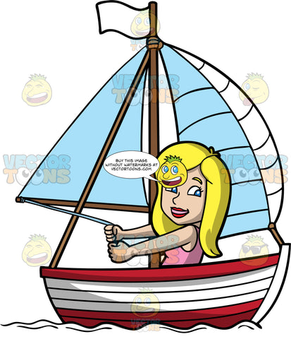 A Pretty Woman Sailing A Boat. A woman with blonde hair, wearing a pink tank top, smiles while holding on to a rope connected to the white sail of her red and white wooden boat with a white flag