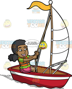 A Happy Black Woman Out For A Sail On Her Boat. A black woman with curly hair tied down, wearing a green shirt, orange with gray life vest, pink shorts, smiles while sitting in a red and white boat with yellow flag, as she holds a rope to control the white sail