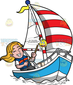 A Happy Woman Sailing A Boat. A woman with blonde hair, wearing a white shirt, blue with orange vest, gray shorts, grins while pulling the rope of the striped red and white sail of her blue and white sailboat that has a yellow flag on top