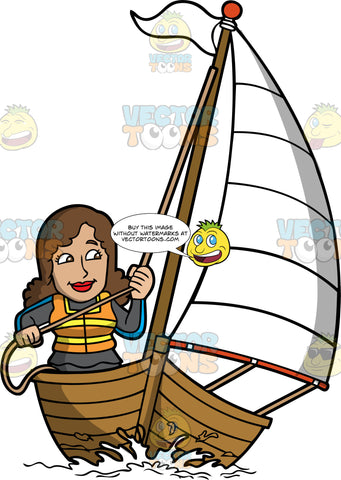 A Woman Sailing The Sea. A woman with brown hair, wearing a dark gray with blue wetsuit, orange with yellow life vest, smiles while tugging the rope of a white sail while sailing a wooden boat