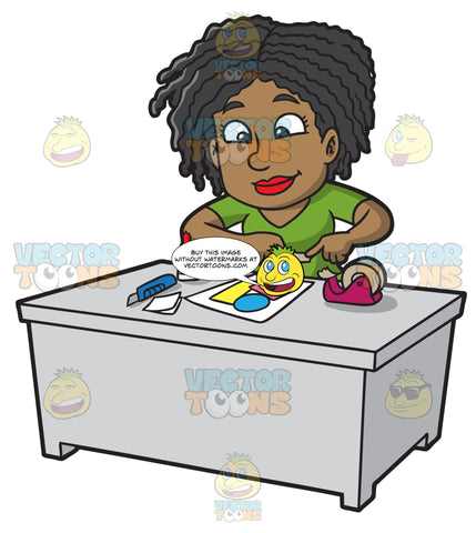 A Black Woman Taping Papers For Her Scrabook