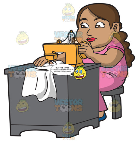 A Chubby Seamstress Sewing A Shirt