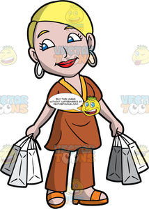A Woman Carrying Several Shopping Bags In Both Hands. A woman with blonde hair and blue eyes, wearing brown pants, a brown shirt, orange sandals, and hoop earrings, holds three shopping bags in each hand