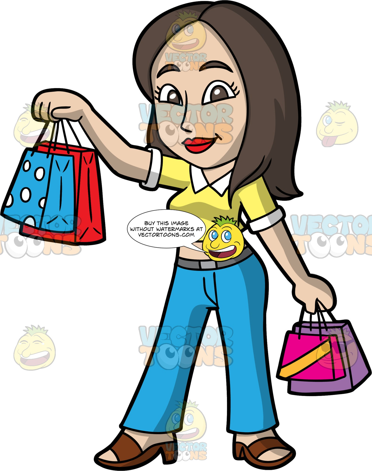 A Woman Happy With The Purchases She Just Made. A woman with long brown hair and brown eyes, wearing blue jeans, a yellow crop top, and brown sandals, holding up some shopping bags after a day out shopping