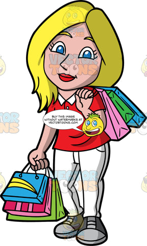 A Blonde Woman On A Shopping Spree. A woman with blonde hair and blue eyes, wearing white pants, a red shirt, and gray sneakers, carrying several shopping bags over one shoulder, and several more in her in other hand