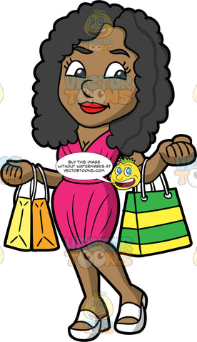 A Stylish Black Woman Out For A Day Of Shopping . A black woman with long, curly hair, wearing a fitted pink dress, and white sandals, holding bags of things she just purchased