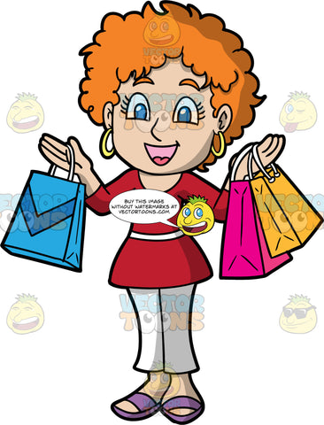 A Woman Having Fun Shopping . A woman with short ginger hair and blue eyes, wearing white pants, a red top, purple shoes, and gold hoop earrings, smiling and holding up shopping bags with all the items she purchased