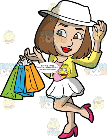 A Stylish Woman Out Shopping. A woman with shoulder length brown hair, wearing a short white skirt, a yellow jacket over a pink top, pink high heels, and a white hat, lifts up one leg, and holds several shopping bags in one hand
