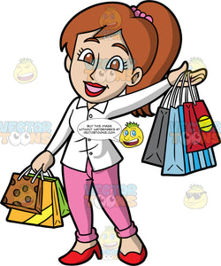 A Woman Doing Some Retail Therapy. A woman with brown hair tied up in a ponytail, wearing pink pants, a white blouse, and red shoes, smiles as she hold several shopping bags in each hand
